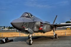 Lockheed F35 Lightning II. American stealth fighter jet at the Abbotsford Airshow in British Columbia, Canada royalty free stock image