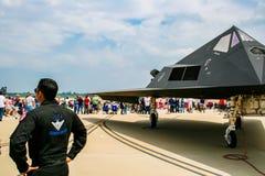 Lockheed F-117 Nighthawk på den Barksdale flygbasen Royaltyfri Bild