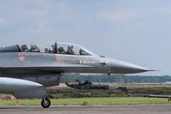 Lockheed Martin F-16 Fighting Falcon. F-16 jetfighter double seater waiting for take-off stock photos