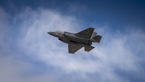Lockheed Martin F35B. Farnborugh, UK - 6th July 2016: Lockheed Martin F35B joint strike fighter aircraft in flight Royalty Free Stock Photos