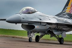 Lockheed Martin F16 Fighting Falcon at Scampton air show on 10 September, 2017. Lincolnshire active Royal Air force base. Royalty Free Stock Photography