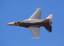 Lockheed Martin F-16 flighting falcon. Knife edge pass at air show of a F-16 Viper / Fighting Falcon royalty free stock images