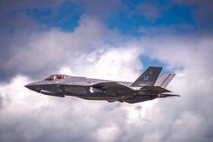 Lockheed Martin F-35 Lightning II  at an Airshow in the UK. RAF FAIRFORD, GLOUCESTERSHIRE, UK - JULY 10: 2016: Demonstration of a Lockheed Martin F-35 Lightning Stock Photo