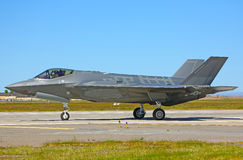 Lockheed Martin F-35A Lightning II fighter jet USAF. Taxiing 5th generation F-35A Lightning II royalty free stock photos