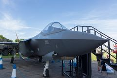 Lockheed Martin F-35 Lightning II. Lockheed Martin F35 Lightning II on display at the air show in Cosford 2018 the RAFs latest 5th generation combat aircraft. An stock photography