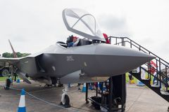 Lockheed Martin F-35 Lightning II. Lockheed Martin F35 Lightning II mock up on display at the air show in Cosford 2018 the RAFs latest 5th generation combat stock photo