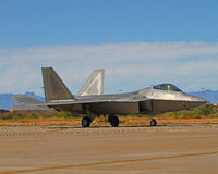 Lockheed Martin F-22A Raptor F-22 fighter jet USAF. A taxiing Lockheed Martin F-22A Raptor at Holloman AFB, NM stock photos
