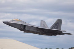 Lockheed Martin F-22 Raptor. The Lockheed Martin F-22 Raptor is a fifth-generation, single-seat, twin-engine, all-weather stealth tactical fighter aircraft Stock Photo
