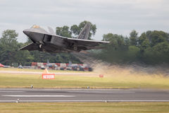 Lockheed Martin F-22 Raptor. The Lockheed Martin F-22 Raptor is a fifth-generation, single-seat, twin-engine, all-weather stealth tactical fighter aircraft Stock Image