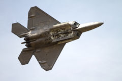 Lockheed Martin F22 Raptor. A Lockheed Martin F22 Raptor fighter jet with its  weapons bay open during an Air show at the Linder Regional Airport in Lakeland Stock Image