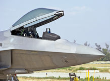 Lockheed Martin F-22 Raptor Tactical Fighter Aircraft. Chino/California - USA May 3, 2015: Lockheed Martin F-22 Raptor military aircraft demonstrating its flying Royalty Free Stock Photo