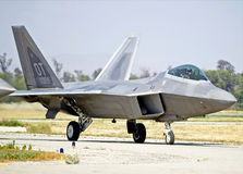 Lockheed Martin F-22 Raptor Tactical Fighter Aircraft. Chino/California - USA May 3, 2015: Lockheed Martin F-22 Raptor military aircraft demonstrating its flying Royalty Free Stock Photos