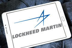 Lockheed martin logo. Logo of lockheed martin weapons manufacturing company on samsung tablet Royalty Free Stock Photos