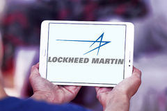Lockheed martin logo. Logo of lockheed martin weapons manufacturing company on samsung tablet Stock Photography