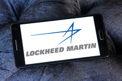 Lockheed martin logo. Logo of lockheed martin weapons manufacturing company on samsung mobile Stock Image