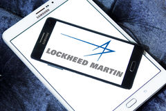 Lockheed martin logo. Logo of lockheed martin weapons manufacturing company on samsung mobile on samsung tablet Royalty Free Stock Photography