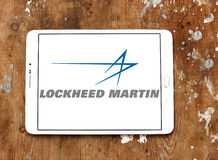 Lockheed martin logo. Logo of lockheed martin weapons manufacturing company on samsung tablet Royalty Free Stock Photo