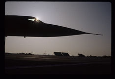 Lockheed SR-71 Blackbird Spyplane Sunburst. The Lockheed SR-71 Blackbird is a long-range, Mach 3+ strategic reconnaissance aircraft that was operated by the Royalty Free Stock Images