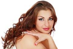 lockig hårkvinna arkivfoton