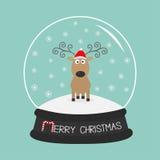 Lockiga horn för gulliga tecknad filmhjortar, röd hatt Kristallkula med snöflingor För bakgrundskort för glad jul blå design för  Fotografering för Bildbyråer