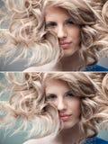 Lockige Blondine des Art und Weiseportraits Stockfoto