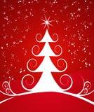 Lockiger Weihnachtsbaum auf Rot Lizenzfreie Stockfotos