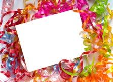 Lockiges Farbband Notecard Lizenzfreies Stockfoto