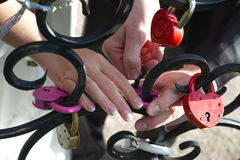 Locking. Love lock fastened together love Stock Images