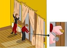 Locking back door closing curtains Royalty Free Stock Image