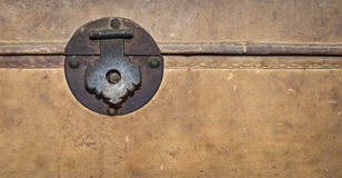 Locking clip on a Vintage treasure box with copy space Royalty Free Stock Images