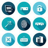 Locking Icons Set. Vector Illustration. Isolated Flat Icons collection on a color background for design Royalty Free Stock Image
