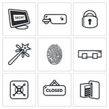 Locking icons set. Vector Illustration. Types of locks Vector Isolated Flat Icons collection on a white background for design Stock Image