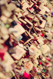 Locking love II. Lock on the bridge of love royalty free stock photos