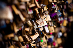 Locking love III. Lock on the bridge of love royalty free stock photography
