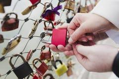 Locking the Love padlock Royalty Free Stock Photography