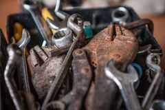 Locking Pliers And Wrench In Tool Box Stock Image