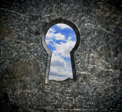 Locking stone over blue sky Royalty Free Stock Images