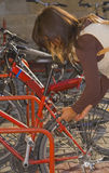 Locking The Bike Stock Image