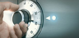 Locking or Unlocking a Safe Deposit Box. Close up of a hand unlocking a safe deposit box by turning a knob with numbers. Composite image between a hand Royalty Free Stock Images