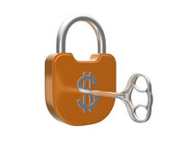 Locking the US dollar currency lock with key Royalty Free Stock Photos