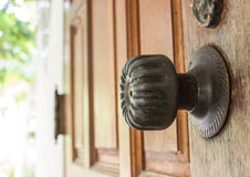 Locking on the wooden door Royalty Free Stock Images