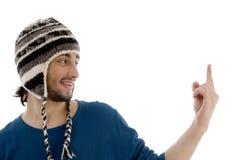 lockman som pekar uppåtriktat woolen barn Royaltyfria Foton