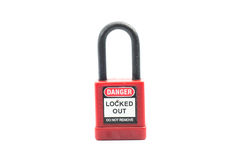 Lockout Padlock red color on isolated background Stock Photography