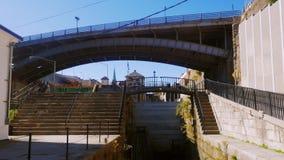 Lockport NY, USA: Ett populärt ställe bland turister, amerikaner mest berömt konstgjort vattenvägLockport lås lager videofilmer