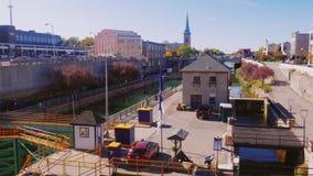 Lockport NY, USA, 25 OKTOBER 2016: Amerikaner mest berömt konstgjort vattenvägLockport lås lager videofilmer