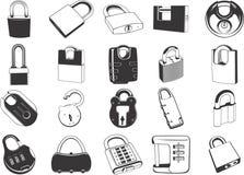 Locks. An illustrated set of different locks stock illustration