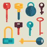Locks And Keys Icons Set In Flat Style Royalty Free Stock Image