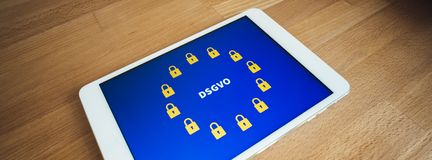 Locks as symbols on a EU flag for General Data Protection Regulation. On a tablet Stock Photography