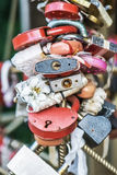 Locks that attach to bridge newlyweds Stock Photography