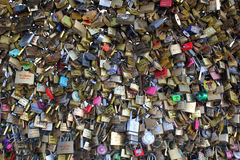 Locks attached to a bridge in Paris Royalty Free Stock Photos